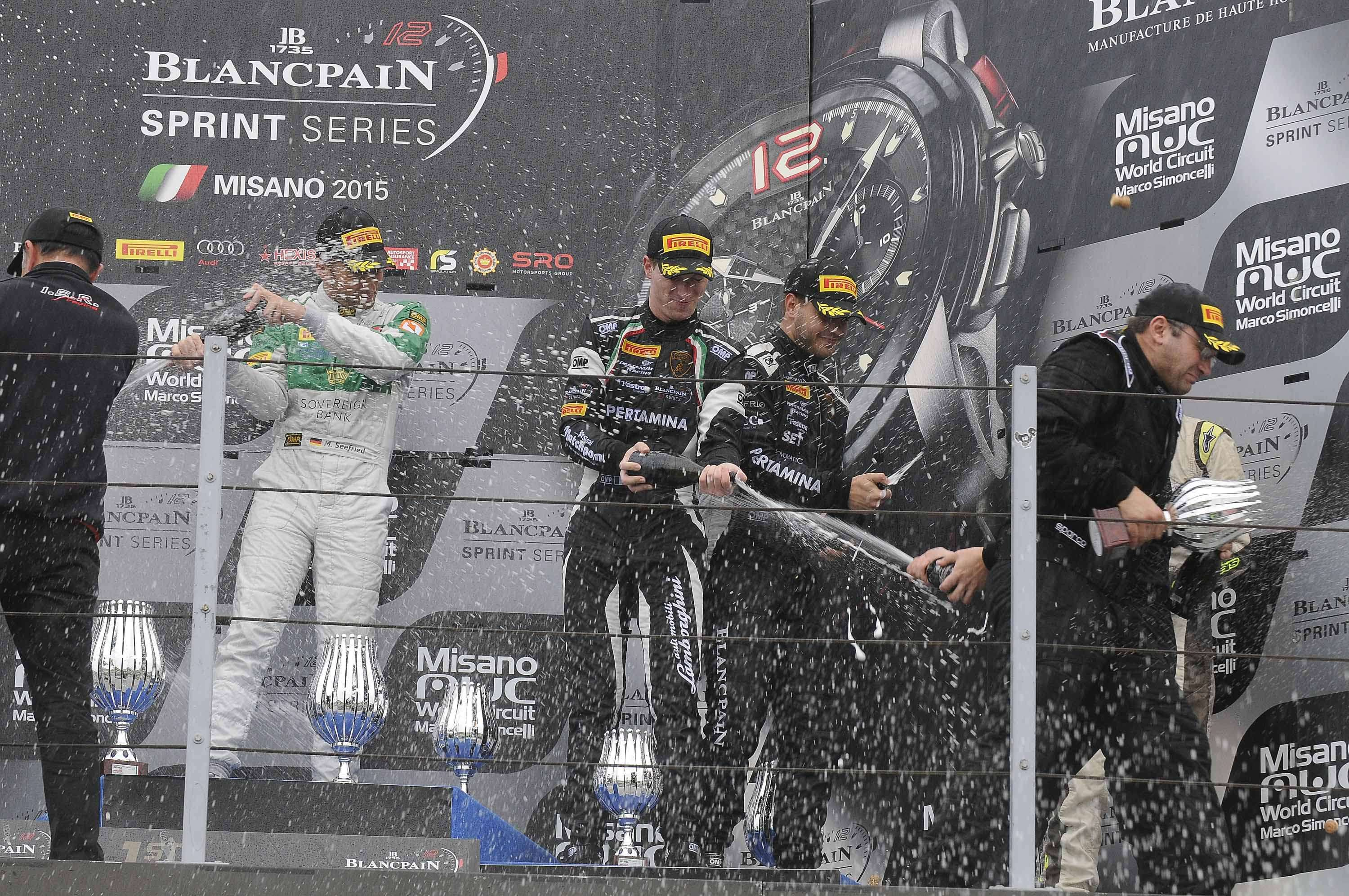 Podium finish in Misano Blancpain Sprint Series for the debuting Lamborghini Huracán GT3