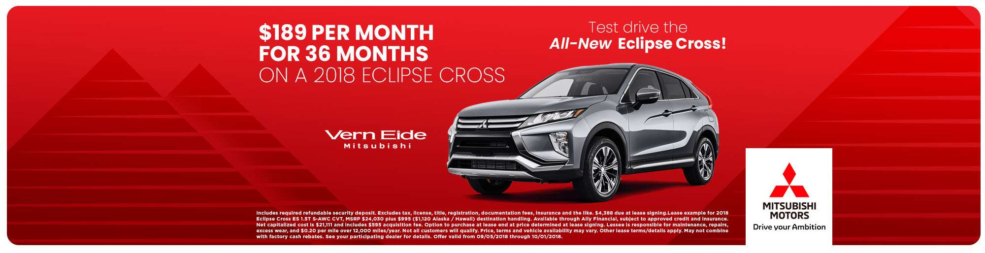 2018 Eclipse Cross - $189/mo 36 - Sept 2018