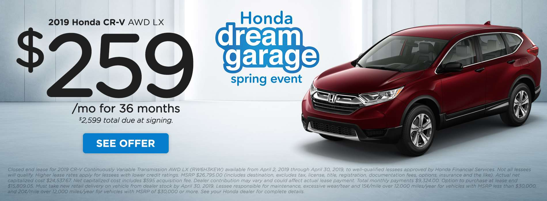 DLH - Spring Clearance CRV - Mar-Apr 2019