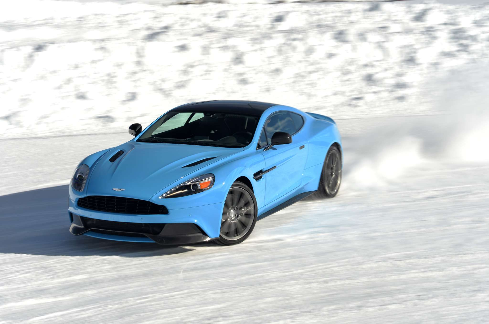 Driving An Aston Martin Vantage On A Frozen Lake