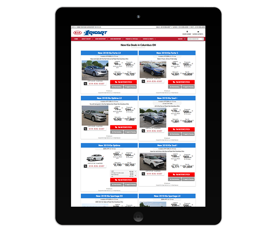 Responsive Kia Landing Pages