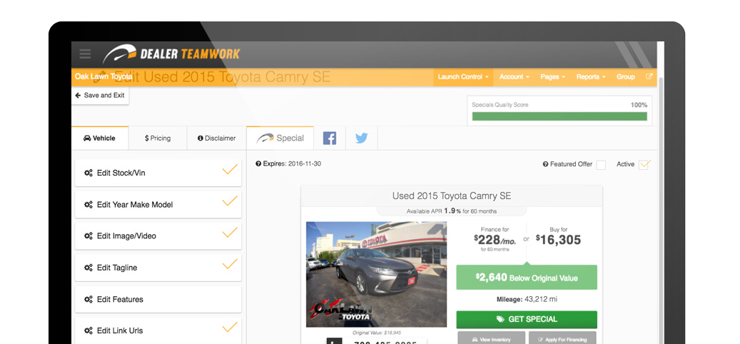 DealerTeamwork Launch Control Used Cars Specials Dashboard