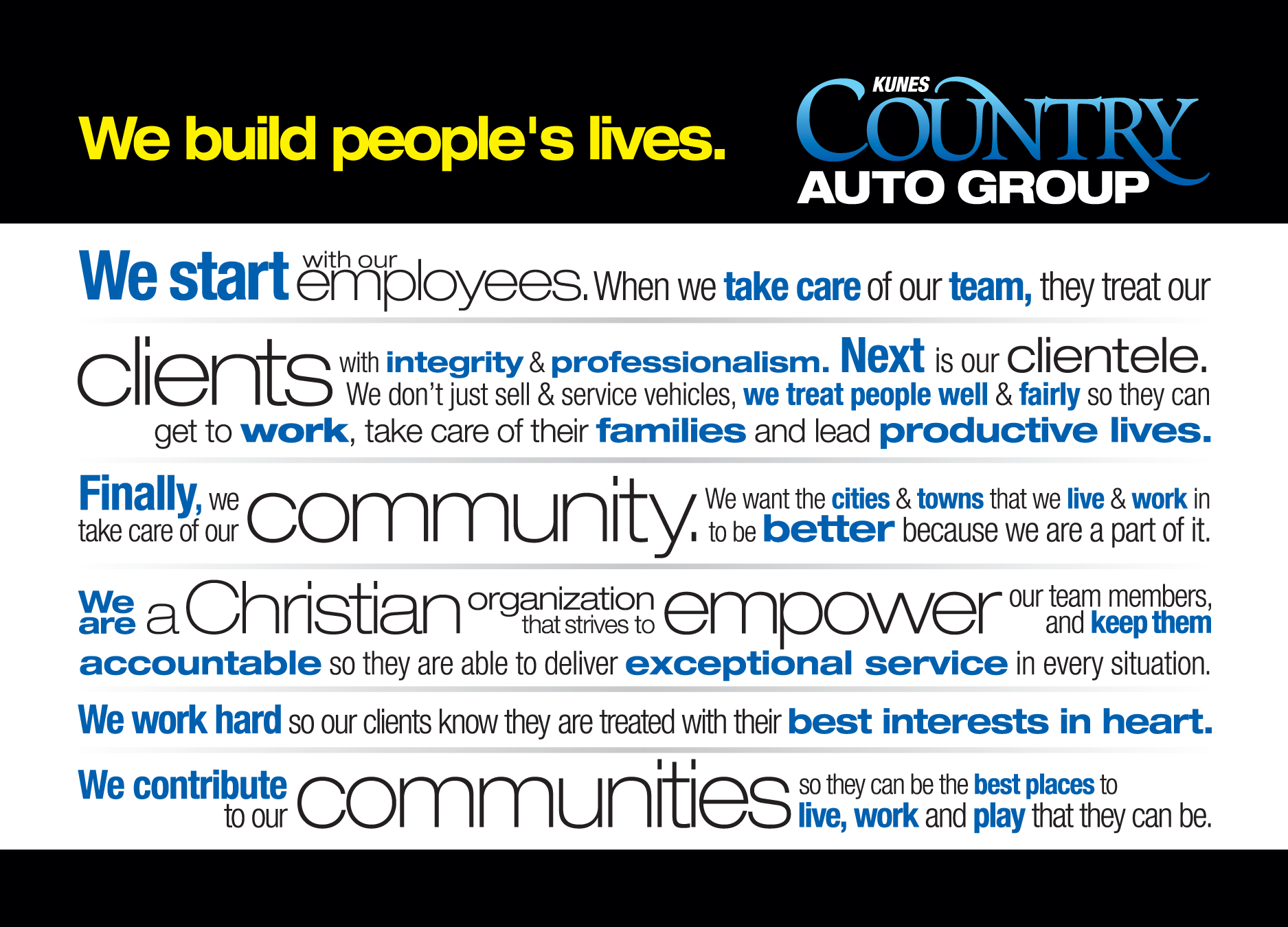 We build Peoples lives -Kunes Country GMC