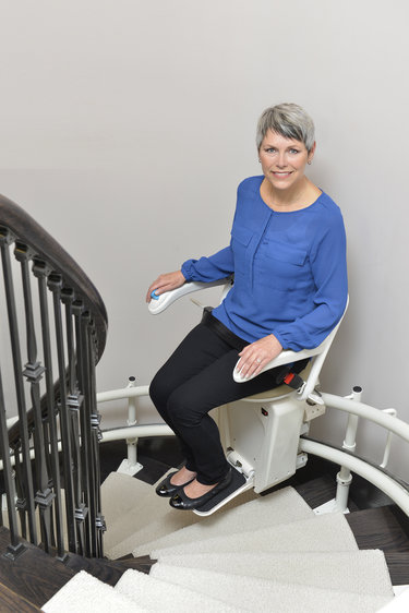 Installed Curved Rail Stair Lift