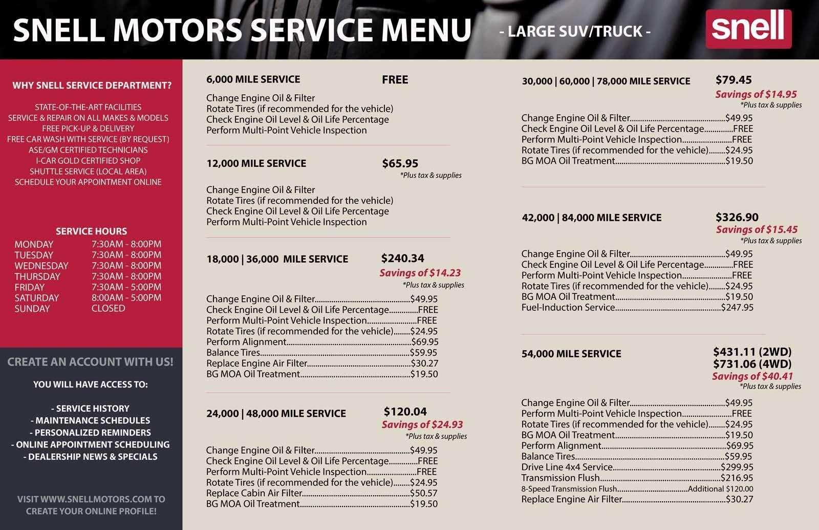 Large SUVs and Trucks Service Menu