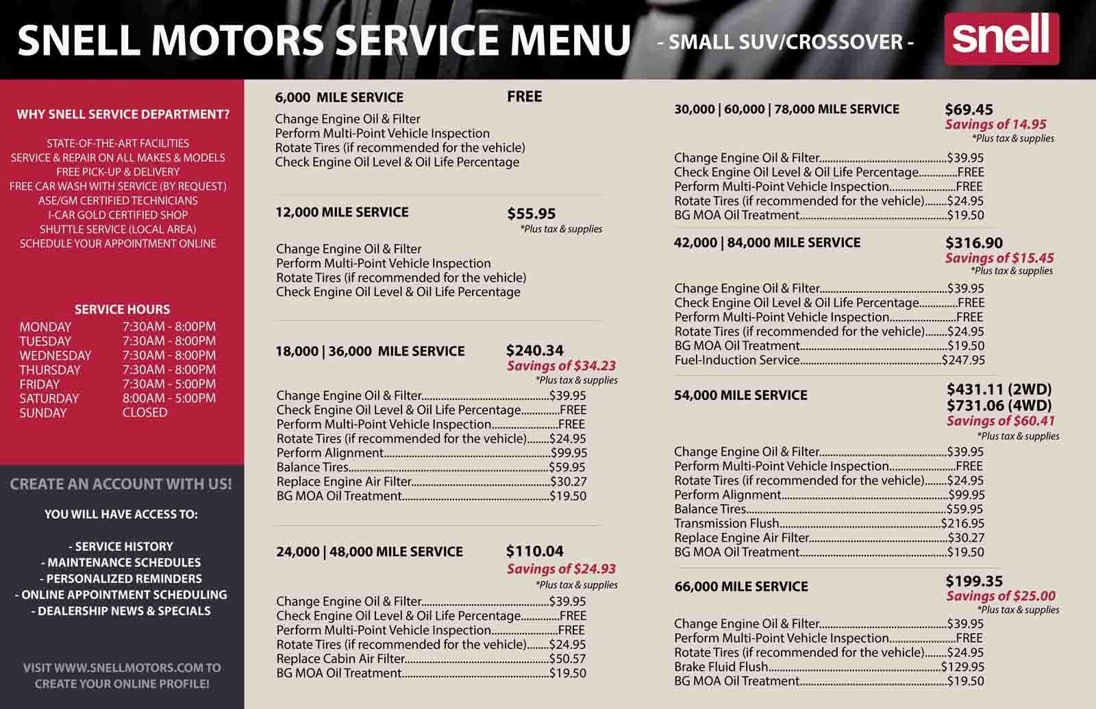 Small SUVs and Crossovers Service Menu