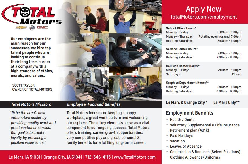 Employment with Total Motors - LeMars