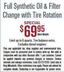 FULL SYNTHETIC OIL & FILTER CHANGE WITH TIRE ROTATION